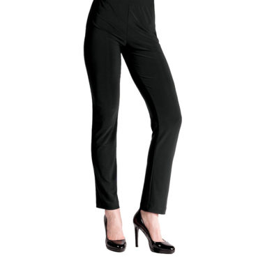 Clara Sunwoo - Our Soft Stretch Knit Straight Leg Pull On Pant will last you from day to night without losing its fit! This pant features a pull-on narrow elastic waistband with a straight leg hem.