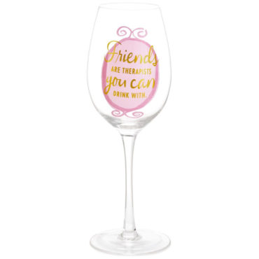 Celebrate a special kind of friendship that makes everything better with this hand-blown wine glass. Fun design features layered pink circles and gold foil lettering. Generously sized and packaged in a box so it's perfect for a girlfriend's gift!