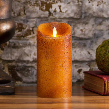 This unique Luminara textured country yam, Real-Flame Effect 3.5-inch x 5-inch, flameless LED candle is made of real paraffin wax and features a 5-hour timer that can turn the candle 'on' and 'off' at the same time every day.