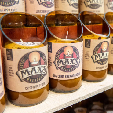 Max's Waxhouse - Hand Made from Recycled Beer Bottles to keep glass out of the landfill and Create Jobs in the USA. Supports Believe in Tomorrow Children's Foundation. Great smelling candle, burns for 50 hours with no soot, clear to the bottom.
